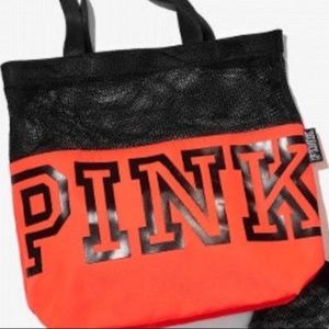 Pink Victoria's Secret orange mesh tote